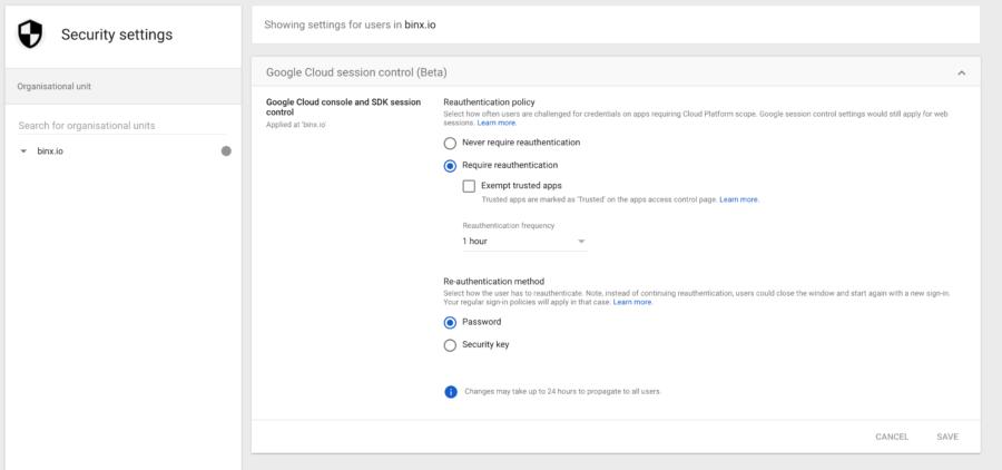 Google Cloud session control screen